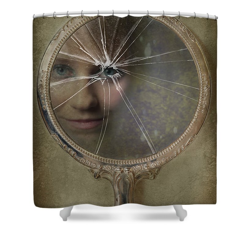 Woman Shower Curtain Featuring The Photograph Face In Broken Mirror By Amanda Elwell