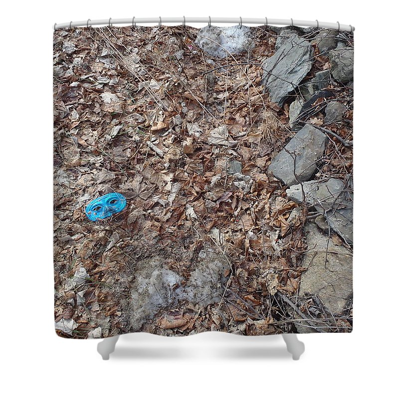 Abstract Shower Curtain featuring the photograph Face In The Woods by Robert Nickologianis