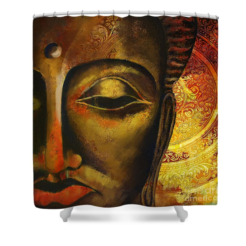 Face Of Buddha Shower Curtain Featuring The Painting By Corporate Art Task Force