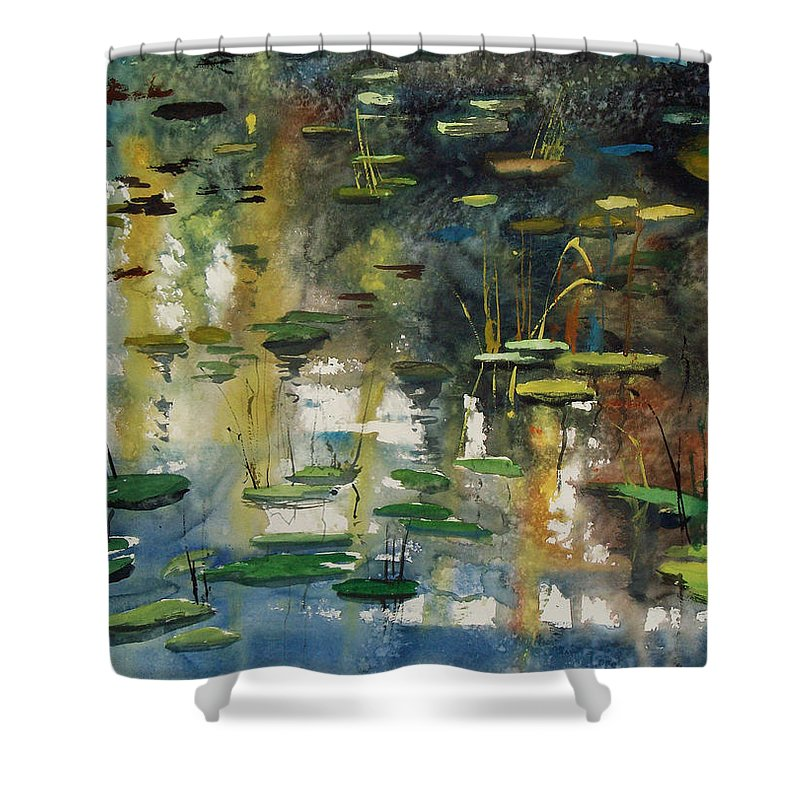 Watercolor Shower Curtain featuring the painting Faces In The Pond by Ryan Radke