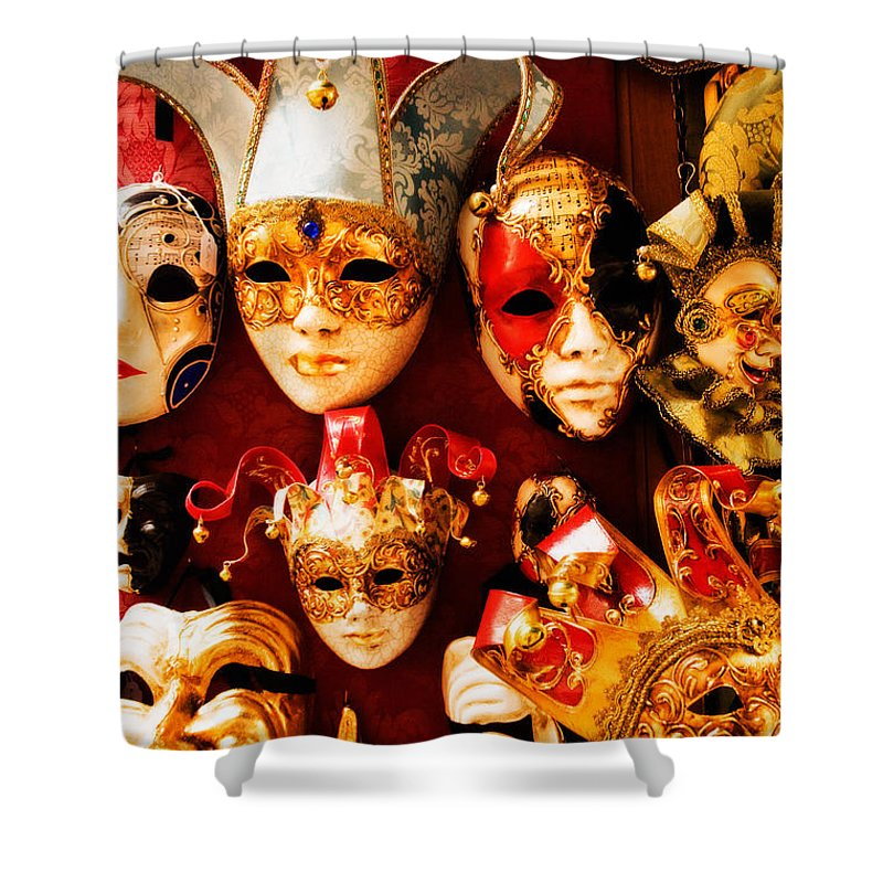 Venice Shower Curtain featuring the photograph Faces Of Carnavale by Mick Burkey