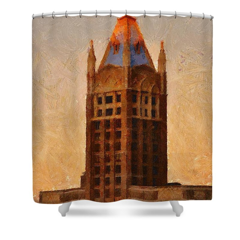 Architecture Shower Curtain featuring the painting Fading Slowly Into Night by Jeffrey Kolker