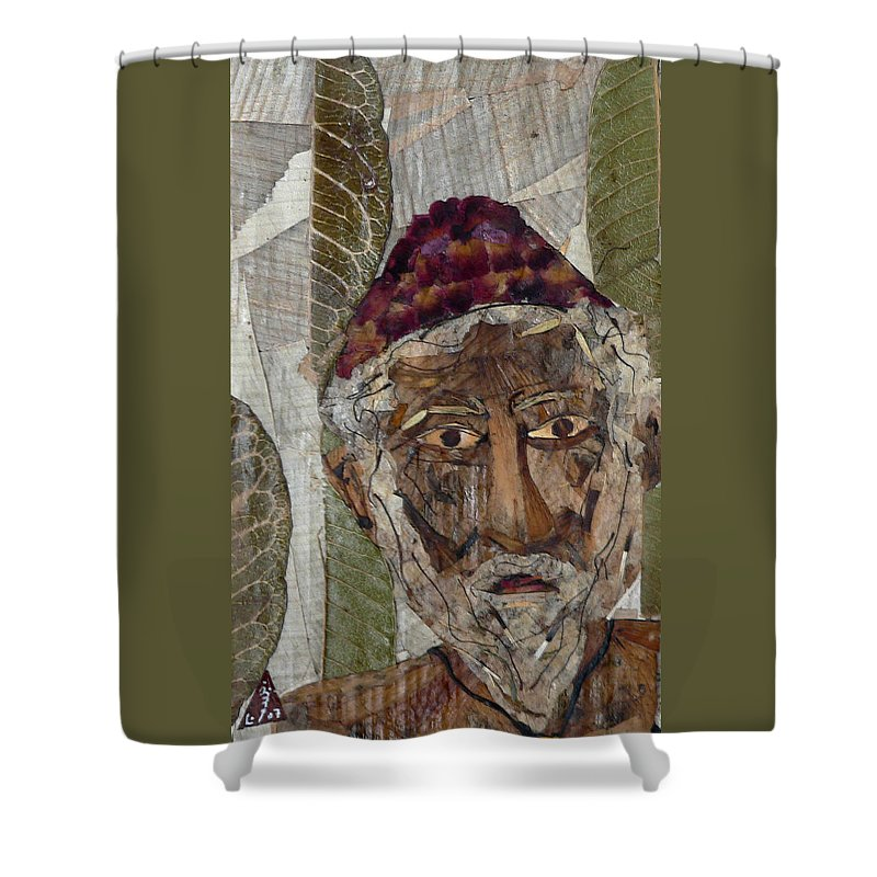 Portrait.holy Person Portrait Shower Curtain featuring the mixed media Fakeer by basant Soni
