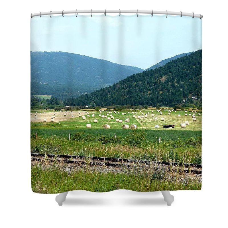 Falkland Hay Bales Shower Curtain featuring the photograph Falkland Hay Bales by Will Borden