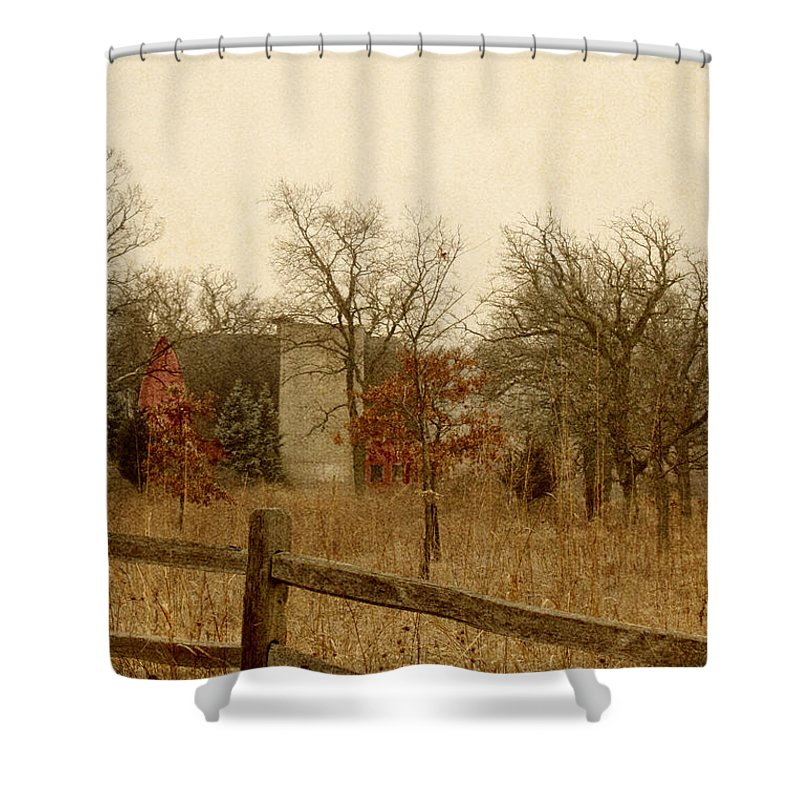 Country; Countryside; Grass; Trees; Leaves; Full; Barn; Silo; Red; Painted; Wood; Farm; Painting; Lovely; Beautiful; Serene; Calm; Landscape; Fence; Wood; Wooden; Autumn; Fall; Spring; Split Rail Shower Curtain featuring the photograph Fall Barn by Margie Hurwich