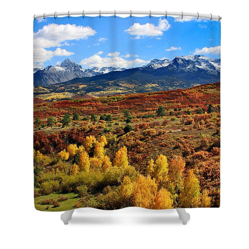 Brett Shower Curtain featuring the photograph Fall Colors In Ridgway Colorado by Brett Pfister