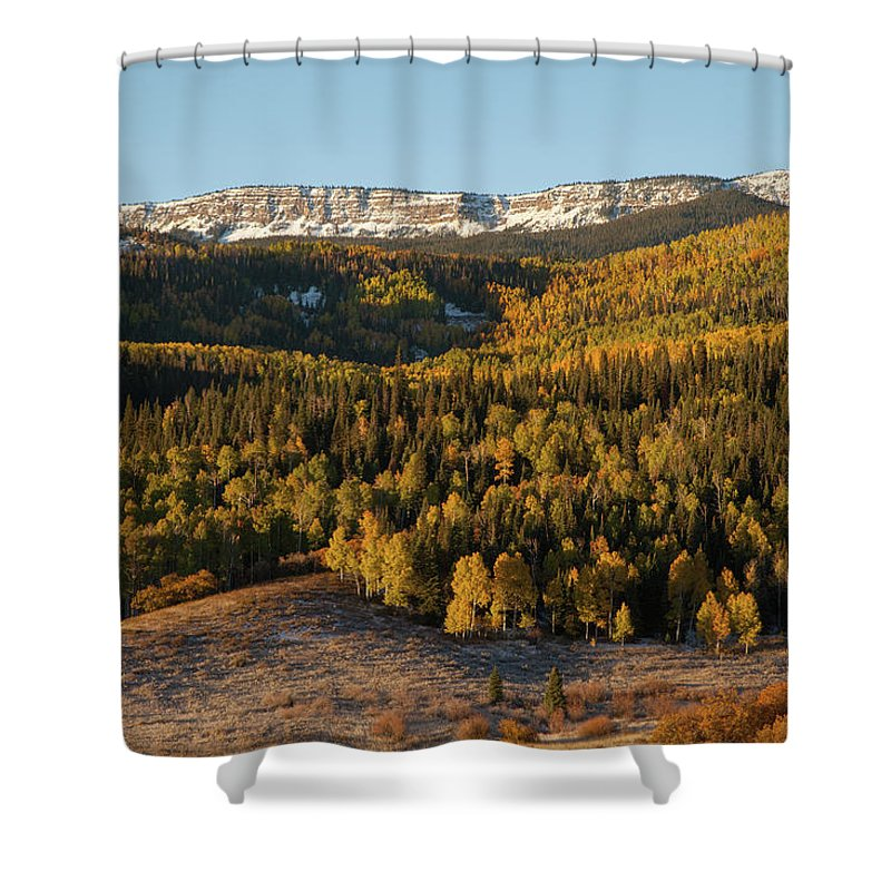 Tranquility Shower Curtain featuring the photograph Fall Foliage And Snow-dusted Peaks by Karen Desjardin
