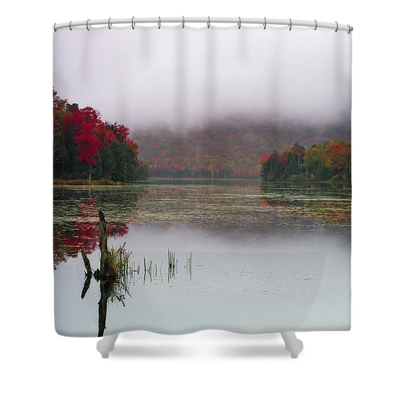 Autumn Shower Curtain featuring the photograph Fall Foliage Reflections In Northern Vermont by John Vose