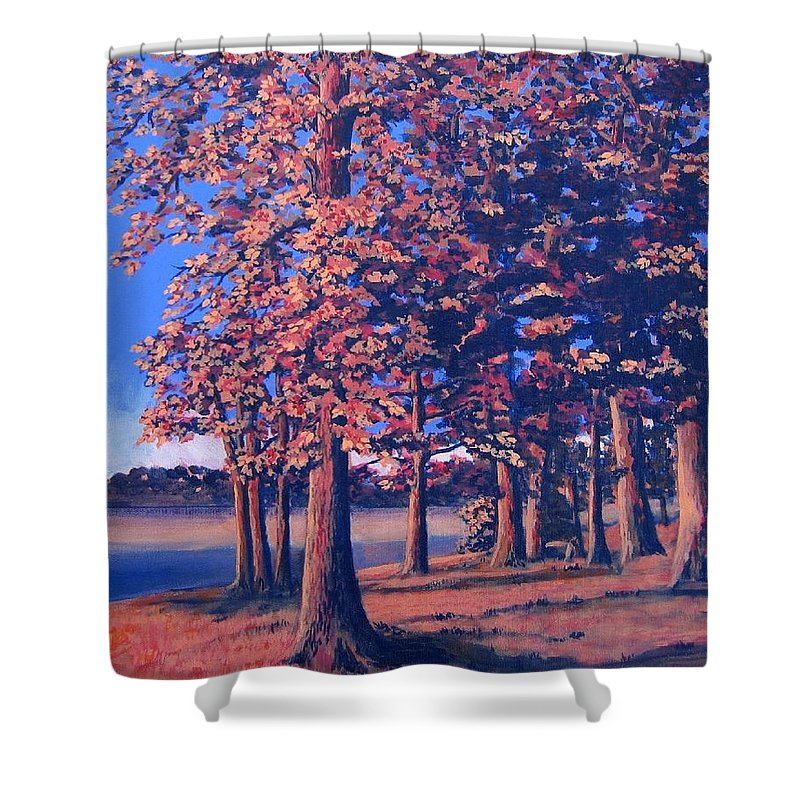 Trees Shower Curtain featuring the painting Fall In East Texas by Suzanne Theis