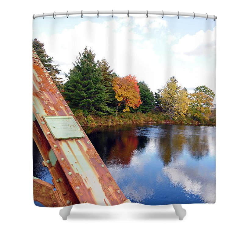 Fall Foliage Shower Curtain featuring the photograph Fall Landscape Old Bridge Maine by Terri Winkler