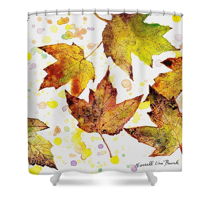 Fall Shower Curtain featuring the painting Fall Leaves by Van Bunch