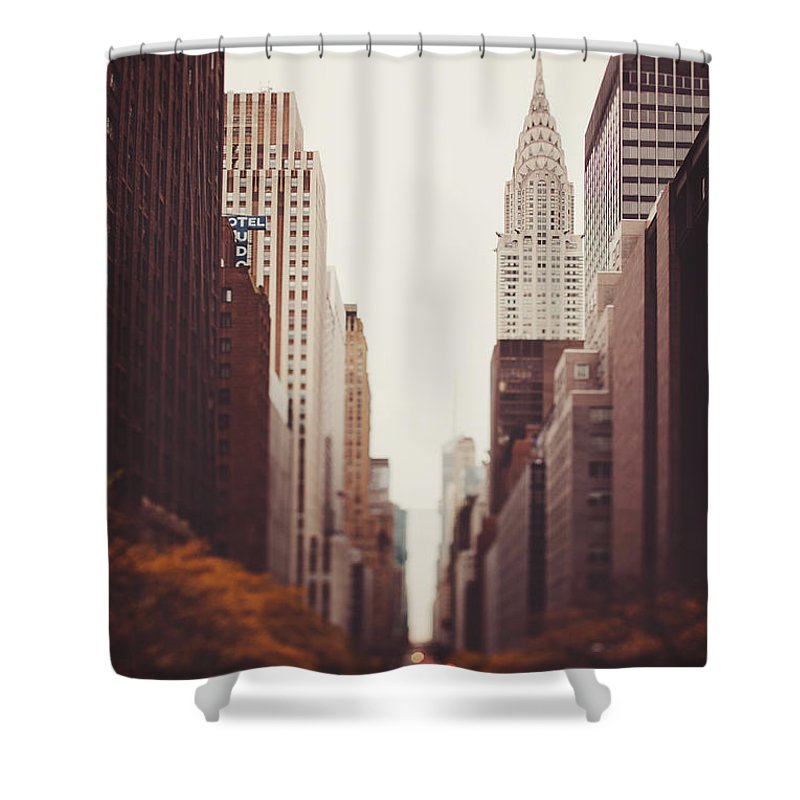New York Shower Curtain featuring the photograph Fall On 42nd Street by Irene Suchocki