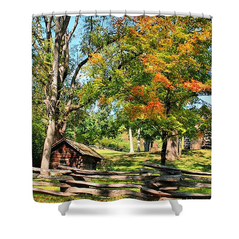Zebulon Baird Vance's Birthplace Shower Curtain featuring the photograph Fall On The Farm by Carol Montoya