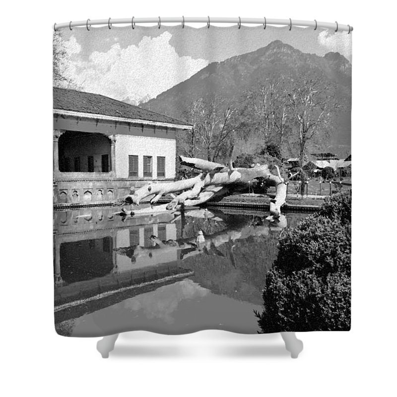 Action Shower Curtain featuring the digital art Fallen Tree In Water Pool Inside The Shalimar Garden by Ashish Agarwal