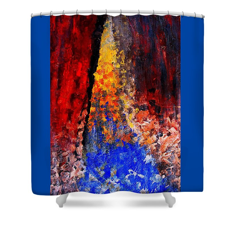 Abstract Shower Curtain featuring the painting Falling by Ian MacDonald