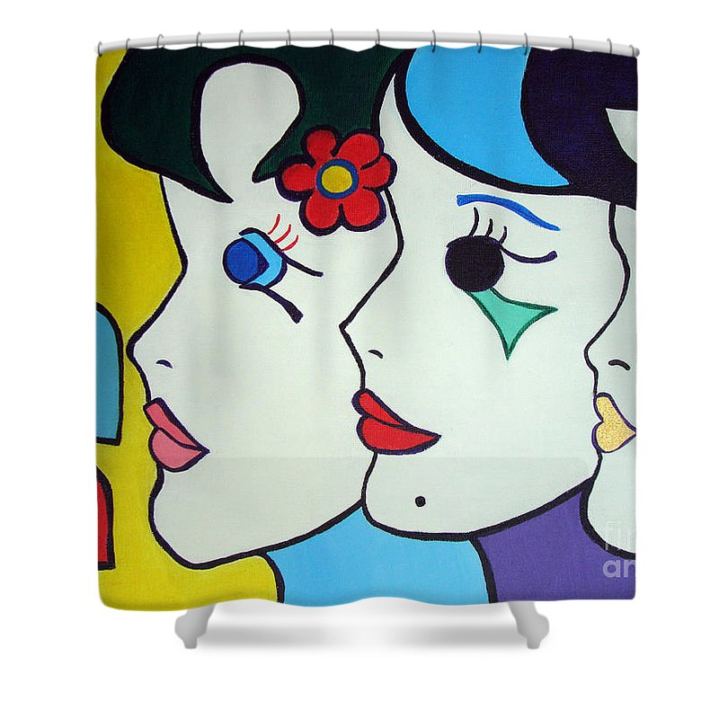 Pop Art Shower Curtain featuring the painting Falling In Love by Silvana Abel