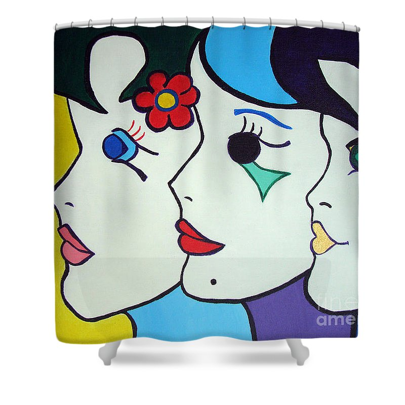 Pop-art Shower Curtain featuring the painting Falling In Love by Silvana Abel