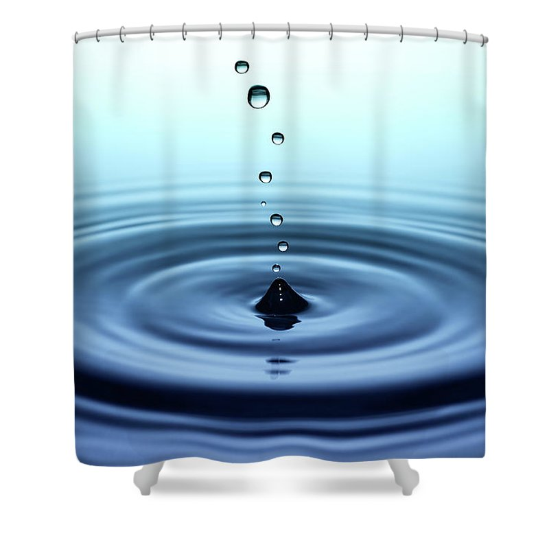 Water Surface Shower Curtain featuring the photograph Falling Small Drops Of Water by Trout55