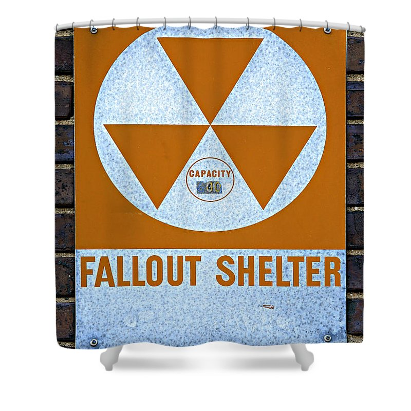 Fallout Shower Curtain Featuring The Photograph Shelter By Stephen Stookey