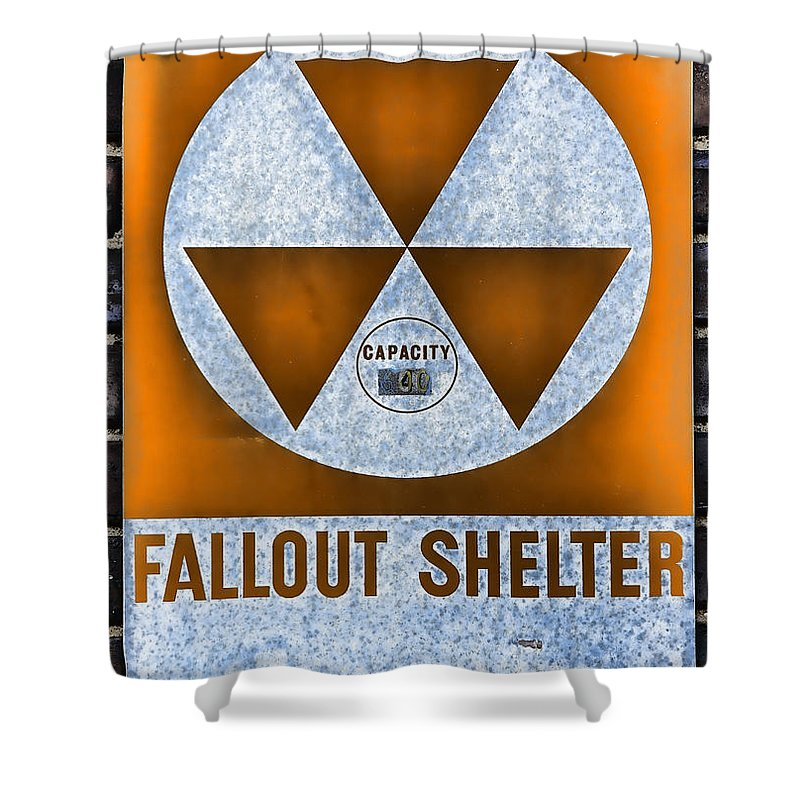 Fallout Shower Curtain Featuring The Photograph Shelter Wall 8 By Stephen Stookey