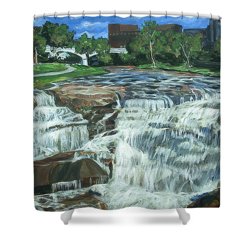Waterfall Shower Curtain featuring the painting Falls River Park by Bryan Bustard