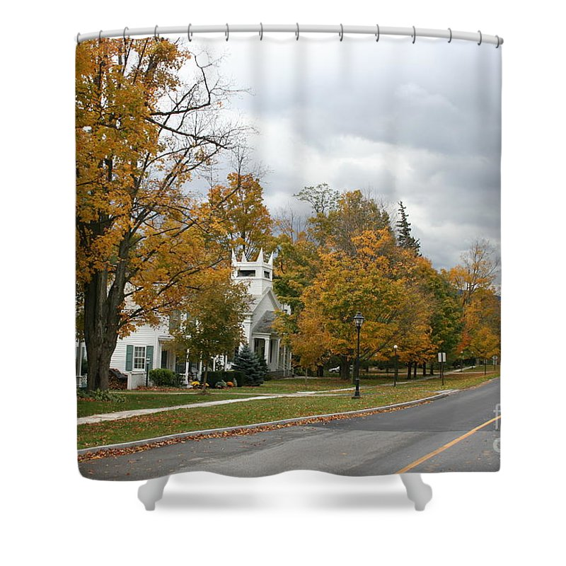 Indian Summer Shower Curtain featuring the photograph Autumn Trees At The Roadside by Christiane Schulze Art And Photography