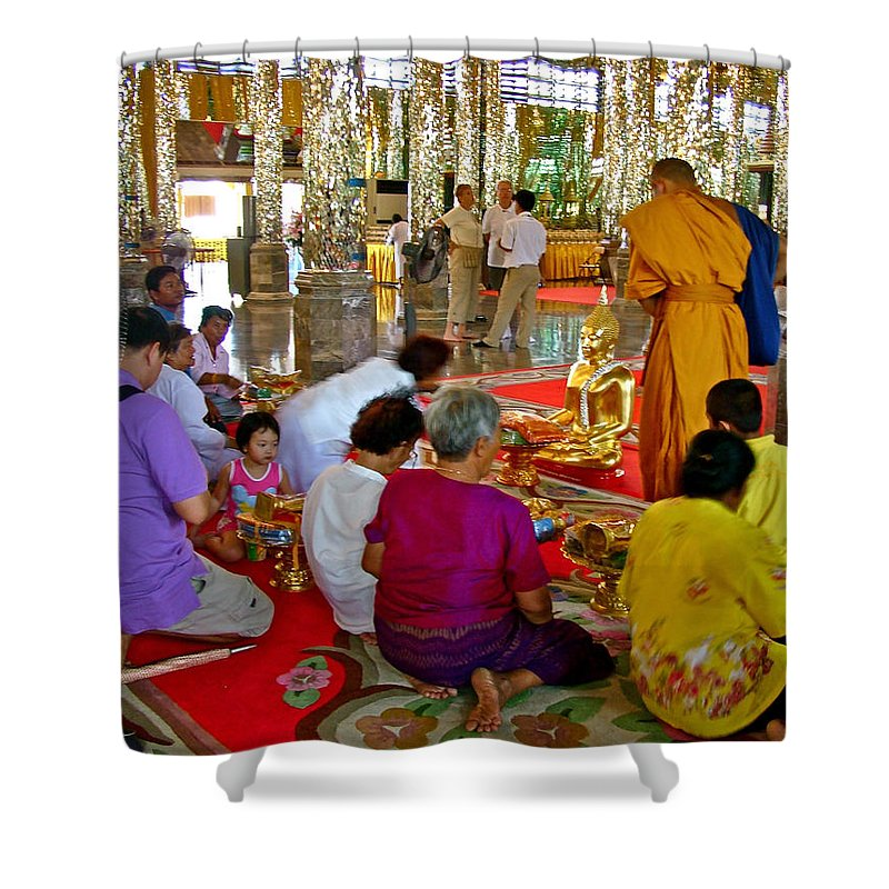 Families Awaiting Teaching From A Monk At Wat Tha Sung Temple In Uthaithani Shower Curtain featuring the photograph Families Awaiting Teaching From A Monk At Wat Tha Sung Temple In Uthaithani-thailand by Ruth Hager