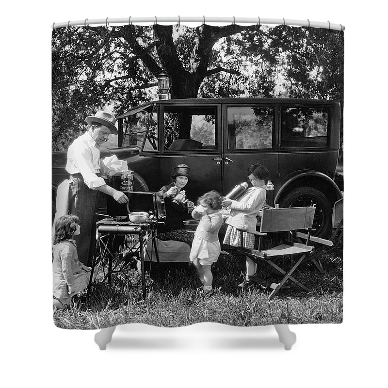 1035-704 Shower Curtain featuring the photograph Family Camping by Underwood Archives