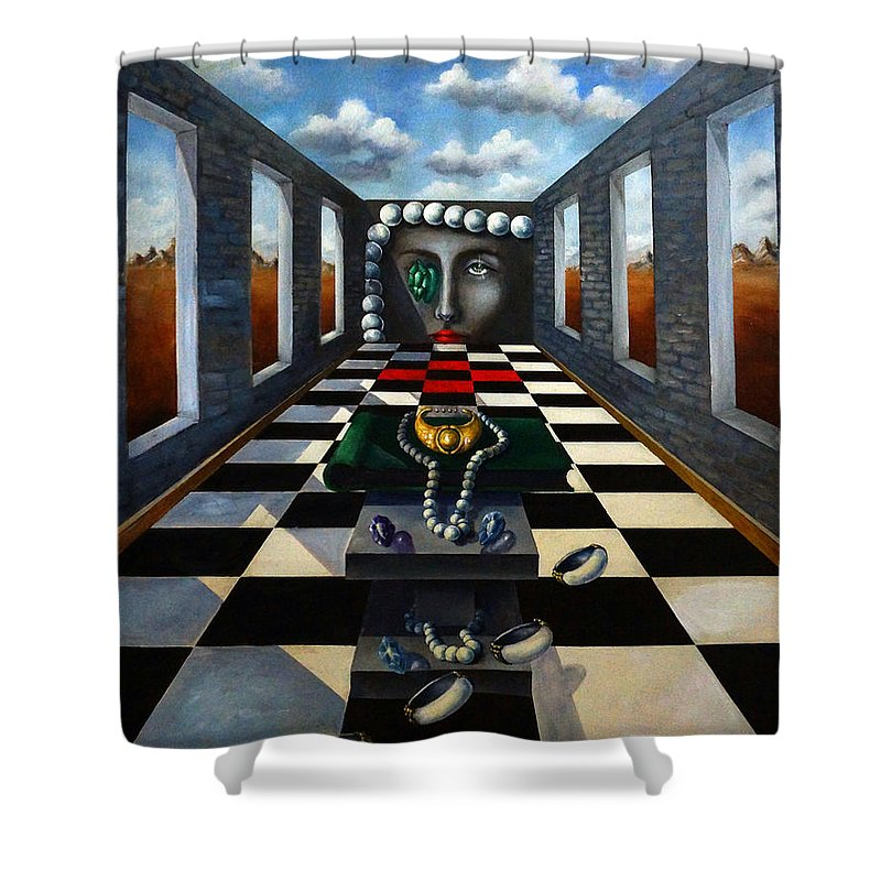 Surreal Landscape Shower Curtain featuring the painting Family Jewels by Valerie Vescovi