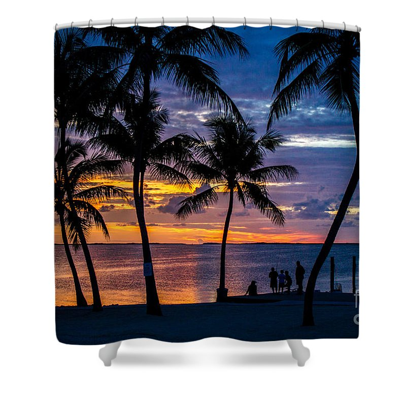Sunset Shower Curtain featuring the photograph Family Journey Into The Night by Rene Triay Photography