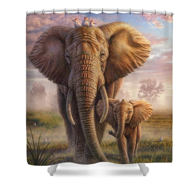 Elephant Shower Curtain featuring the mixed media Family Stroll by Phil Jaeger