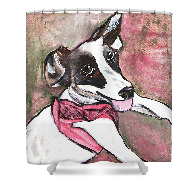 Jack Russell Shower Curtain featuring the painting Fancy Little Girl by Rebecca Weeks Howard