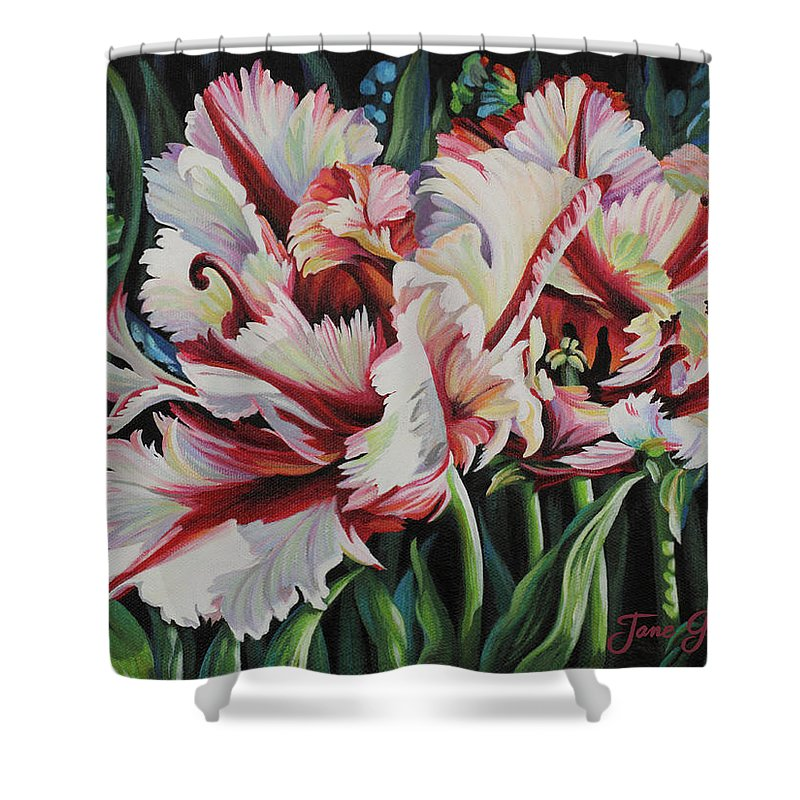 Flower Shower Curtain featuring the painting Fancy Parrot Tulips by Jane Girardot