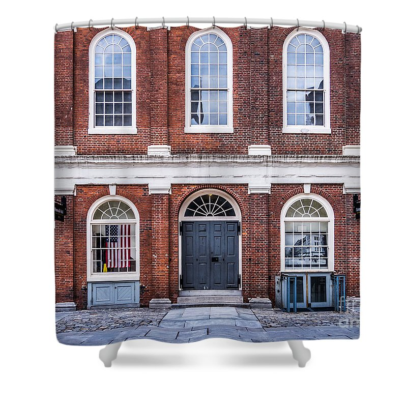 Boston Shower Curtain featuring the photograph Faneuil Hall Facade by Susan Cole Kelly