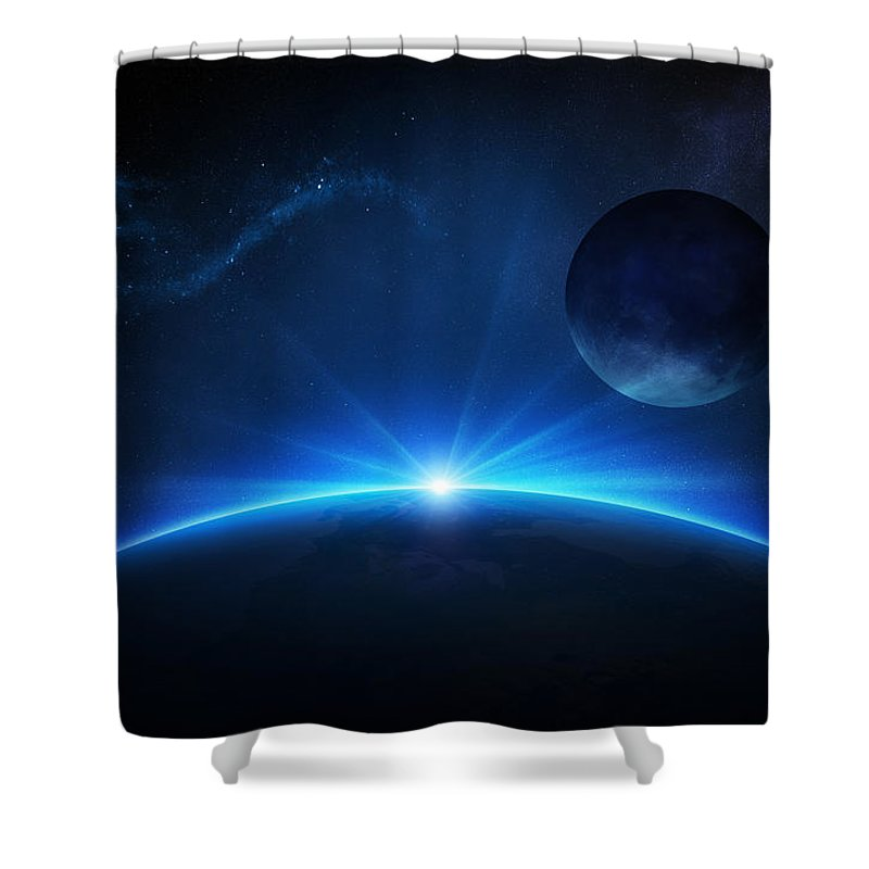 Earth Shower Curtain featuring the photograph Fantasy Earth And Moon With Sunrise by Johan Swanepoel