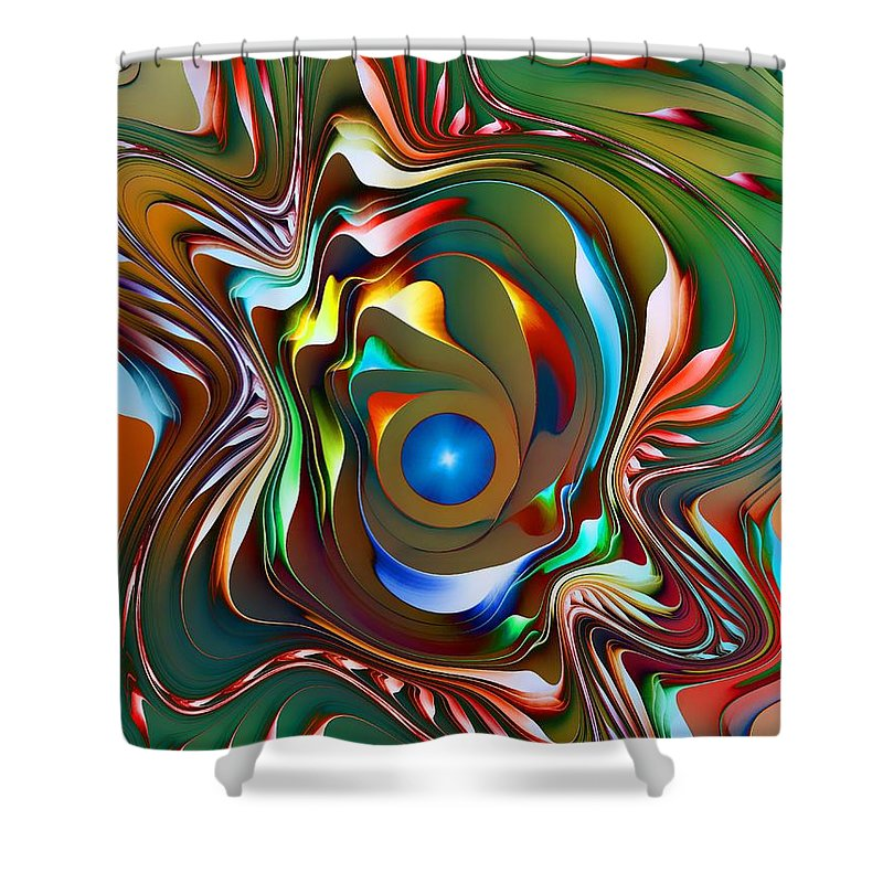 Abstract.digital Shower Curtain featuring the digital art Fantasy Flower 3 by Klara Acel