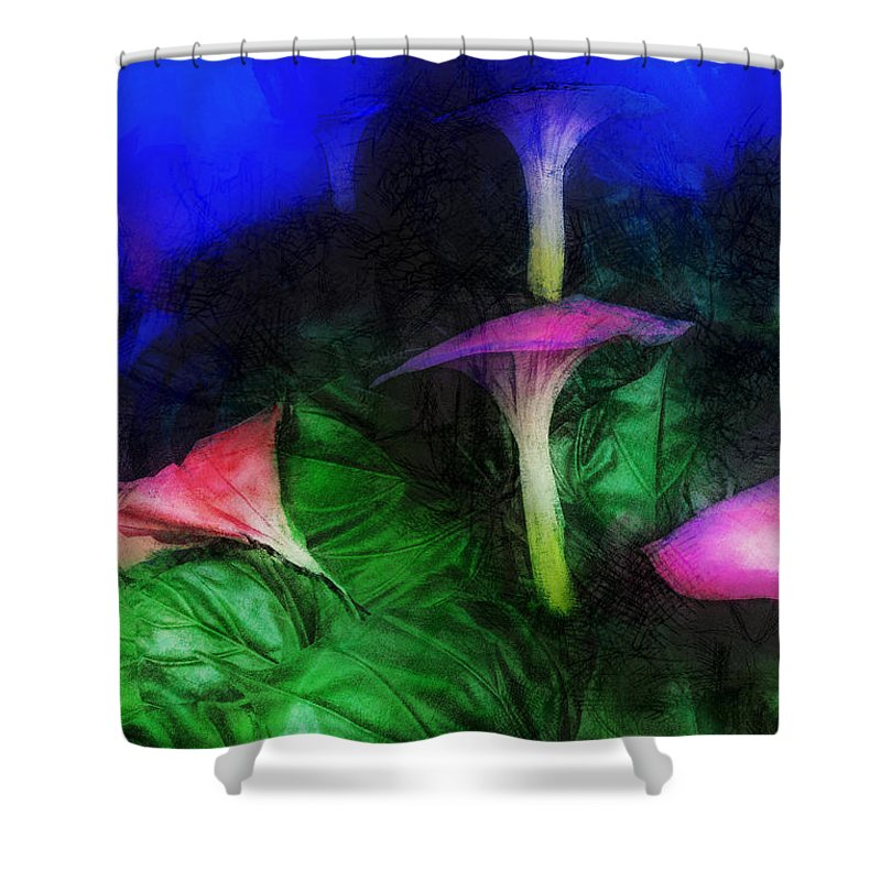 Asia Shower Curtain featuring the digital art Fantasy Flowers Lux by David Lange