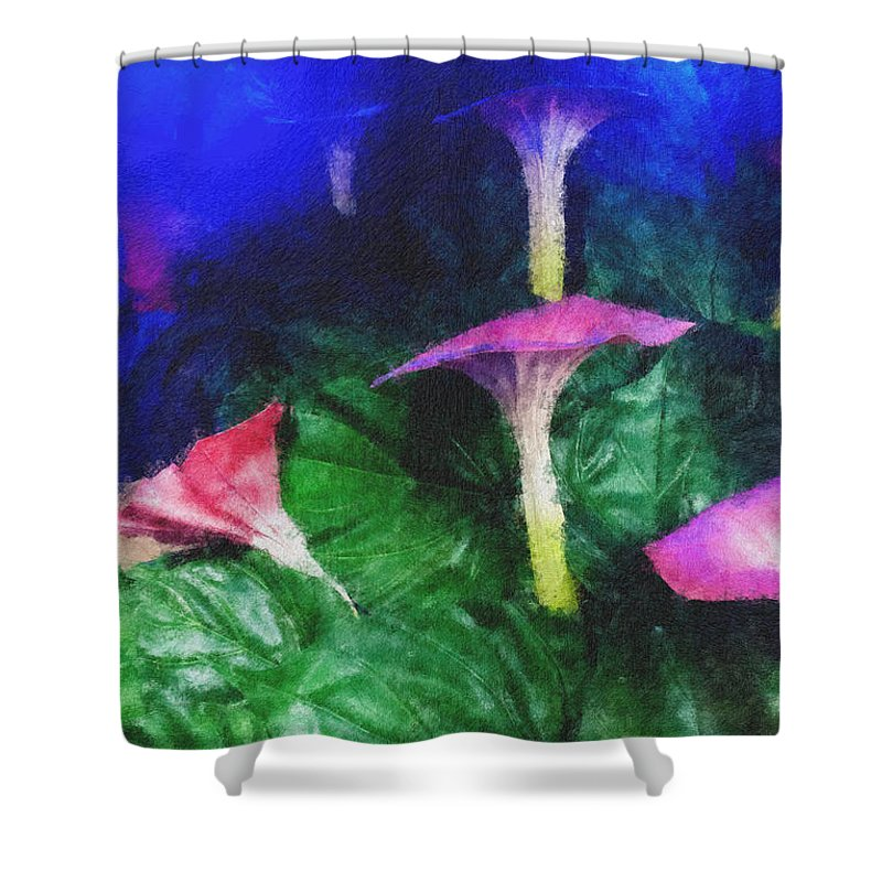 Asia Shower Curtain featuring the photograph Fantasy Flowers Pastel Chalk 2 by David Lange
