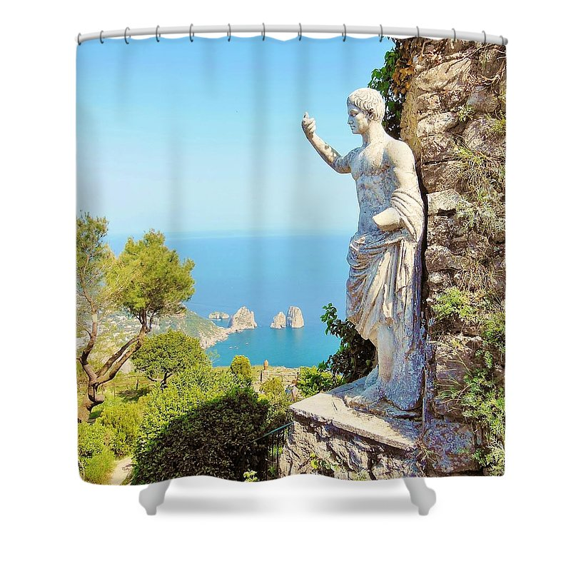 Capri Shower Curtain featuring the photograph Faraglioni Rocks From Mt Solaro Capri by Marilyn Dunlap