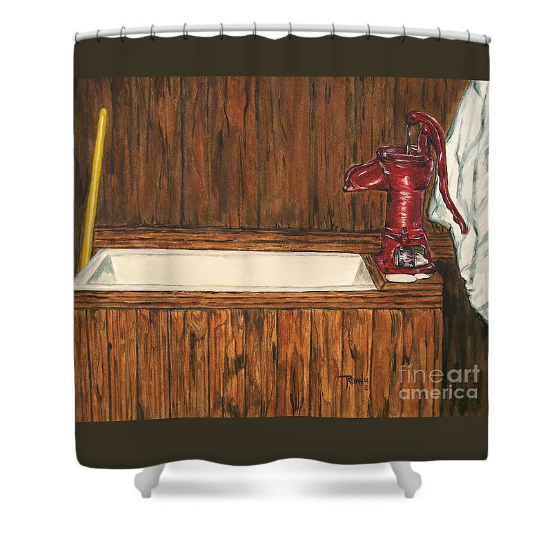 Farm Sink Shower Curtain featuring the painting Farm Sink by Regan J Smith
