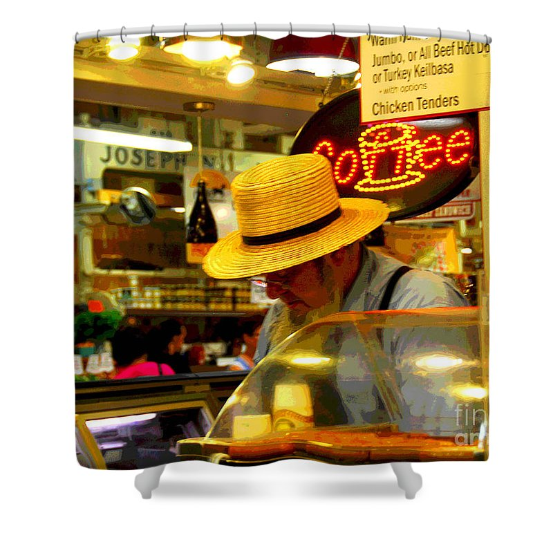 Farmer;s Market Shower Curtain featuring the photograph Farmer's Market At Reading Terminal by Cindy Manero
