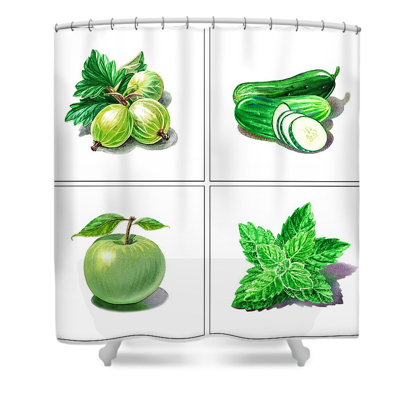 Cucumber Shower Curtain featuring the painting Farmers Market Gifts Green Vitamins by Irina Sztukowski