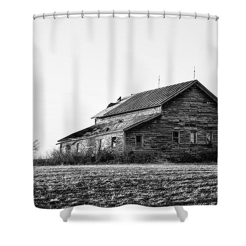 Black And White Shower Curtain featuring the photograph farmhouse in spring - Old Barns by Gary Heller