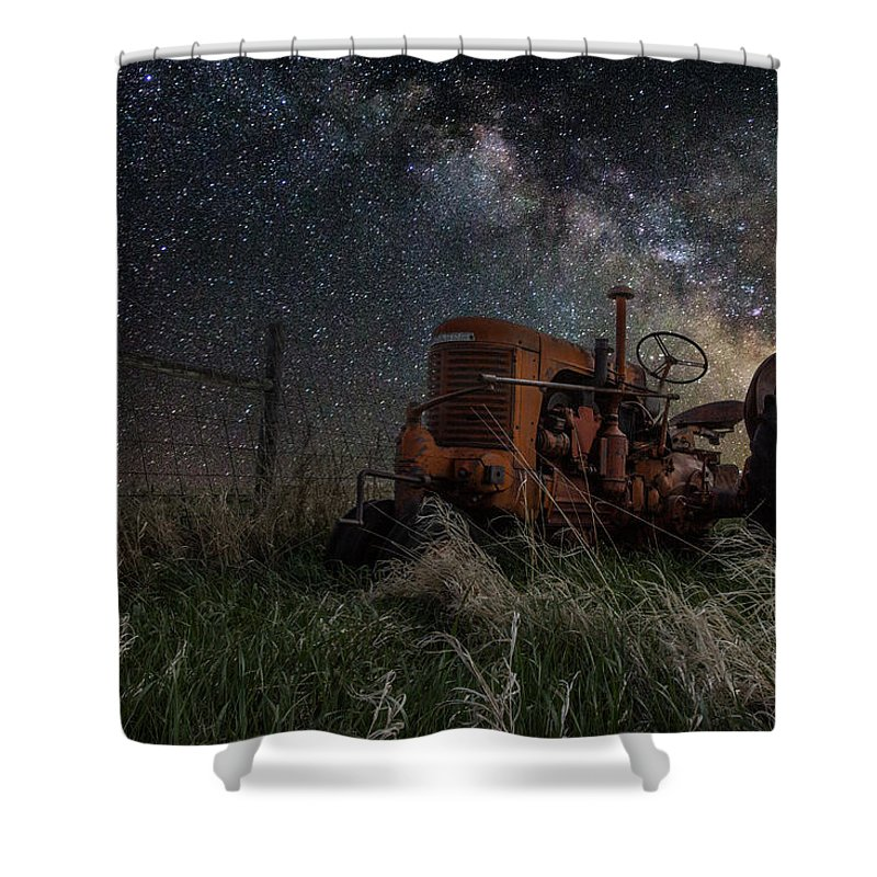 Tractor Shower Curtain featuring the photograph Farming The Rift by Aaron J Groen