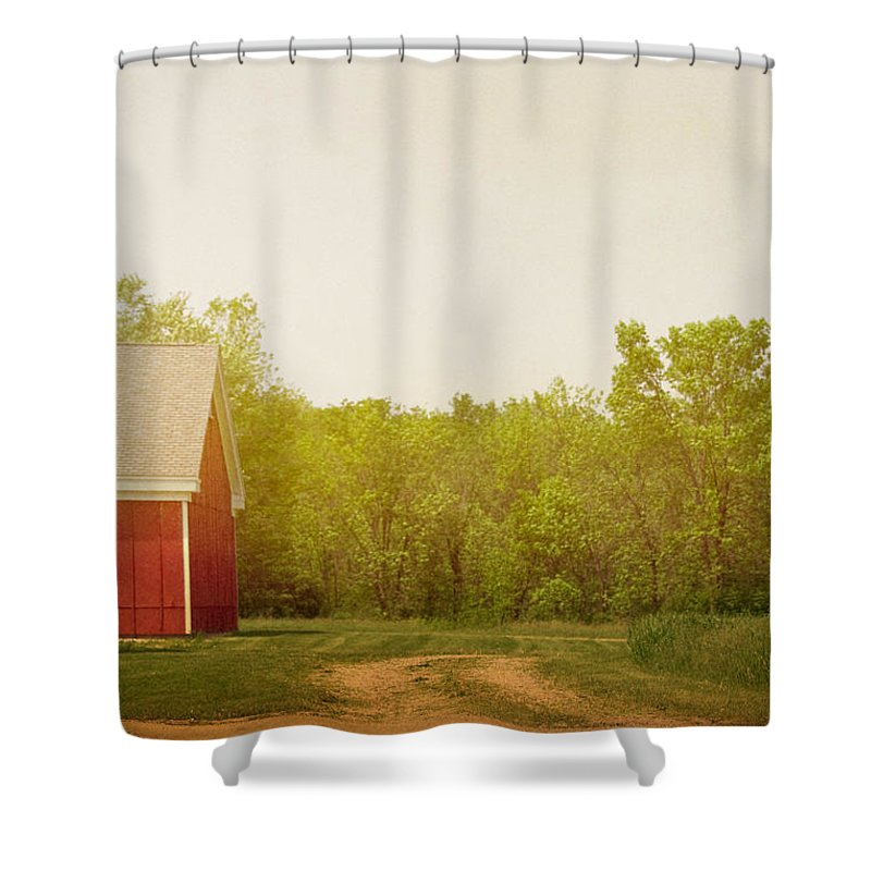 Barn; Building; Farm; Dirt; Drive; Driveway; Road; Grass; Trees; Yard; Nature; Country; Countryside; Red; Wood; Side; Cloudy Shower Curtain featuring the photograph Farmland by Margie Hurwich