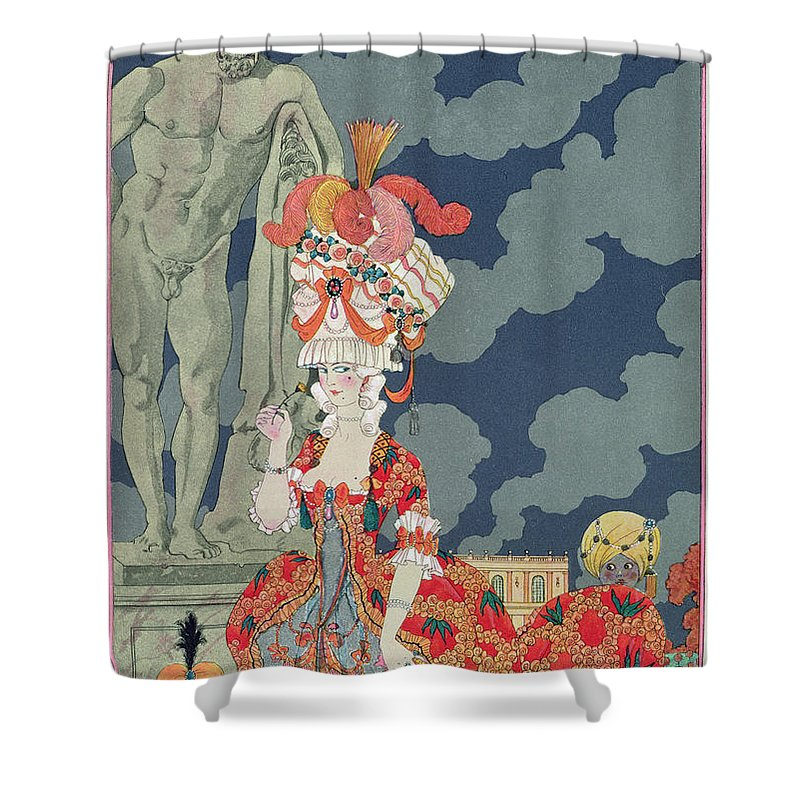 Female Shower Curtain featuring the painting Fashion At Its Highest by Georges Barbier