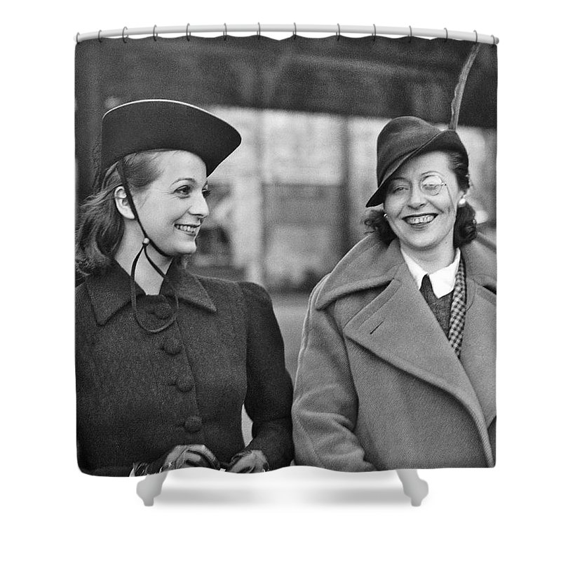 1930s Shower Curtain featuring the photograph Fashionable Dancers Arrive by Underwood Archives