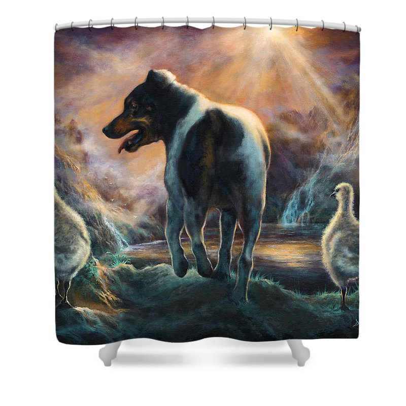 Goose Shower Curtain featuring the painting Father Goose by Donna Hillman Walsh