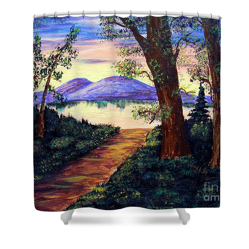 Barbara Griffin Shower Curtain featuring the painting Favorite Fishing Spot by Barbara Griffin