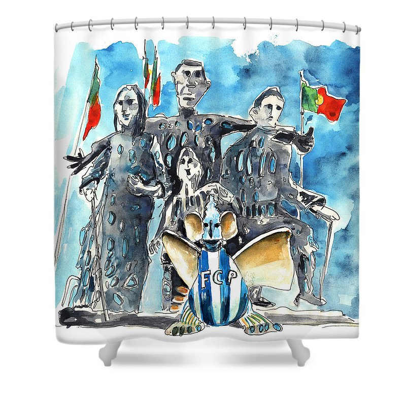 Travel Shower Curtain featuring the painting Fcporto In Vila Cha by Miki De Goodaboom